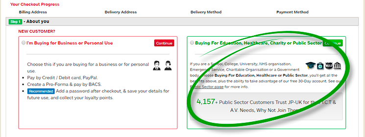 Example of Public Sector Checkout
