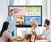 Sharp Business Interactive Touchscreen Display in an Office