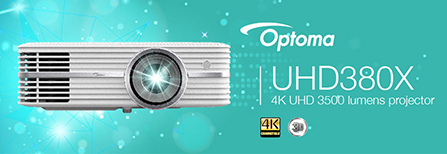 Banner for Optoma UHD380X Projector - 4K UHD 3500 Lumens Home Cinema Projector